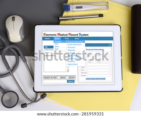 Electronic medical record show on tablet connect to patient information.