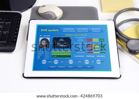 Electronic medical record show patient\'s health information on tablet.