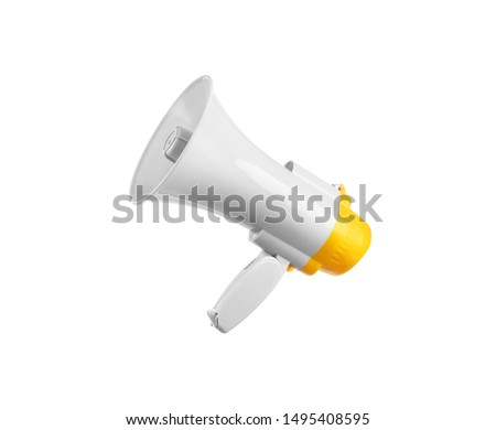 Photo of  Electronic megaphone on white background. Loud-speaking device
