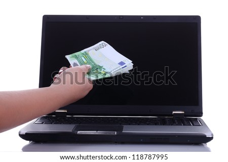 electronic money transfer concept - money being send easily online
