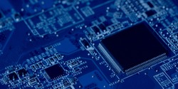 Electronic Mother Board With Micro Chips, Semiconductor Elements Close-Up And Macro. Concept Of Technologies Of Microelectronics.