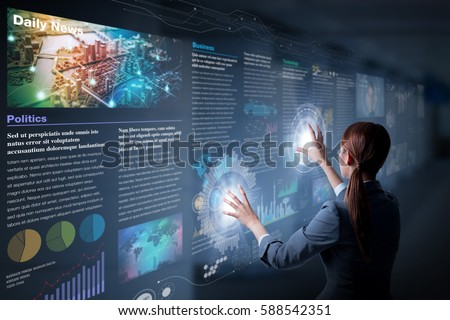 electronic newspaper concept, curation media, curation content, Graphical User Interface, abstract image visual