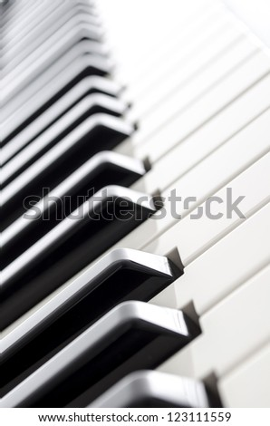 Electronic piano keyboard keys.