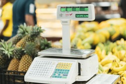 Electronic Scales for weighing Food on a white background.