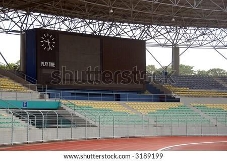 electronic score board  in a empty stadium