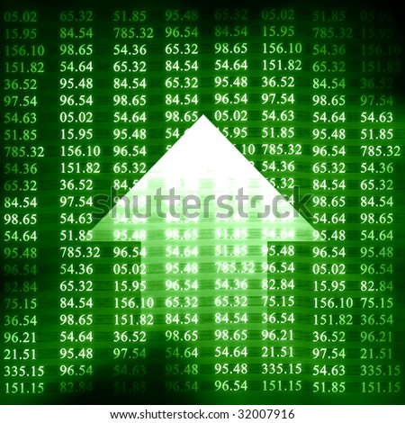Electronic stock numbers and arrow on a green background