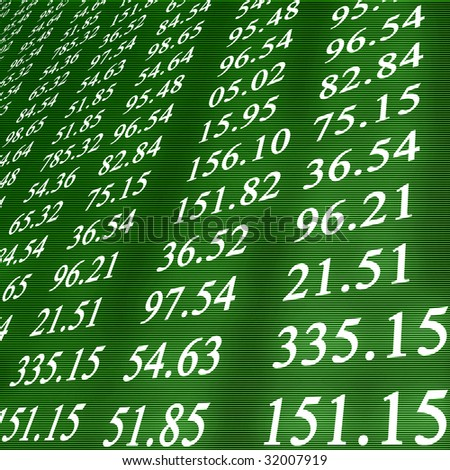 Electronic stock numbers on a green background