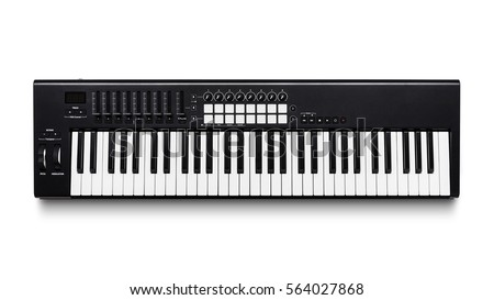Electronic synthesizer (piano keyboard) isolated on white background with clipping path #564027868