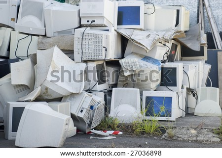 Electronic waste, a large pile of unwanted computer monitors