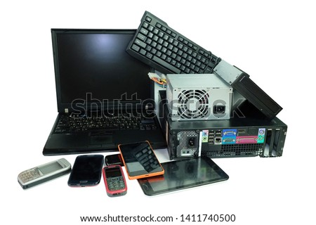 Electronic waste, gadgets electronic equipment for daily use, Laptop and Desktop computer and cell phones isolated on white background #1411740500