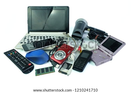 Electronic waste, gadgets for daily use and broken on white background #1210241710