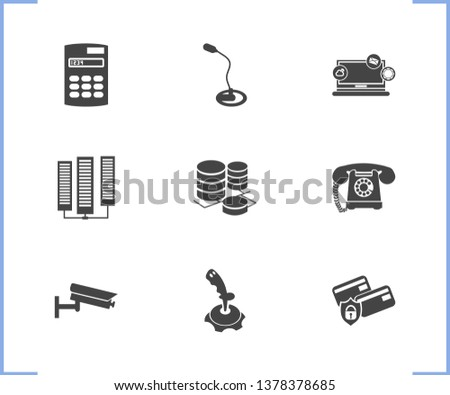 Electronics icon set and calculator with video control, computer widget, landline telephone. Database related electronics icon  for web UI logo design.