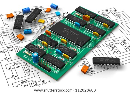 Electronics industry concept: digital circuit board with microchips over schematic diagram isolated on white background