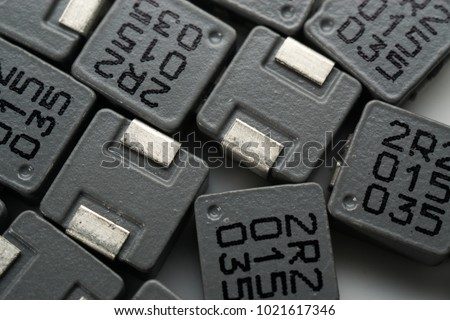 electronics part of Surface mount Inductor on white isolated background