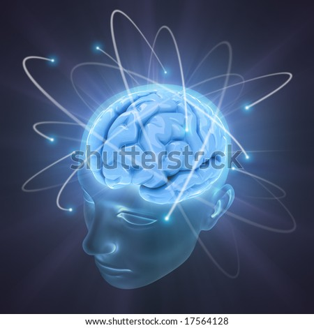 Electrons revolve around the brain. Concept of idea, the power of mind.