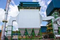 Electrostatic precipitator for remove dust in flue gas from boiler at biomass power plant.
