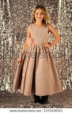elegance and stylish look. elegance, little girl in dress. #1191658561