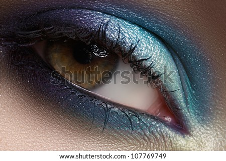 Elegance close-up of beautiful female eye with marine colors eyeshadow. Macro shot of beautiful woman's face part with makeup. Cosmetics, beauty and make-up