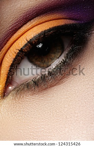 Elegance close-up of female eye with celebratory bright color eyeshadow. Macro shot of beautiful woman's face part. Wellness, cosmetics and make-up. Chic holiday visage