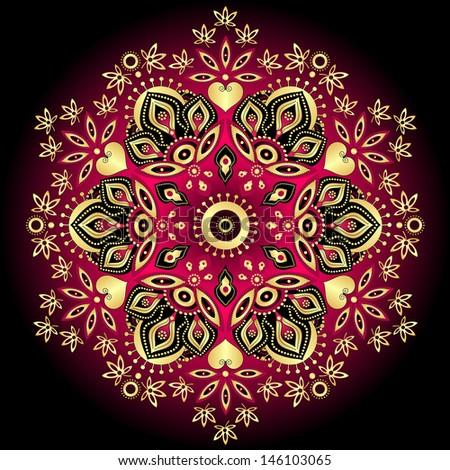 Elegance gold-purple round vintage pattern on black