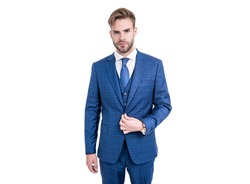 Elegance is key. Elegant man wear suit isolated on white. Business formal style. Fashion trend. Trendy menswear. Formalwear. Classy and elegant.