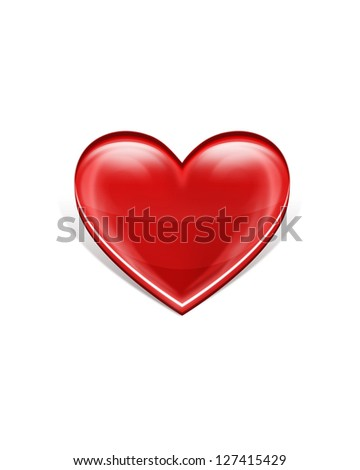 Elegance Red Heart, Isolated On White Background