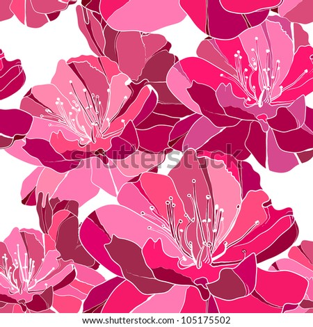 Elegance seamless pattern with flowers peony, floral illustration in vintage style.