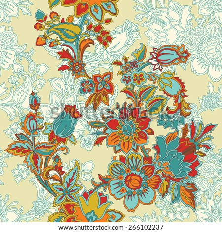 Elegance Seamless pattern with ornament floral illustration in vintage style