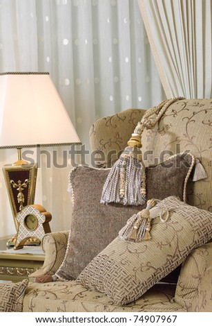 Elegance tassels display on luxury armchair
