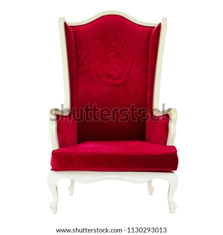 Elegance wood chair decoration with red velvet fabric isolated on white background #1130293013
