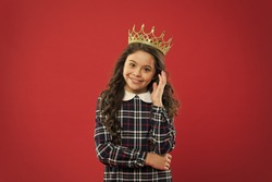Elegancy suit her. Kid wear golden crown symbol of princess. Every girl dreaming to become princess. Lady little princess. Girl wear crown red background. Monarch family concept. Princess manners.