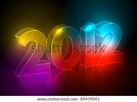 Elegant, abstract New Year's illustration made of neon light