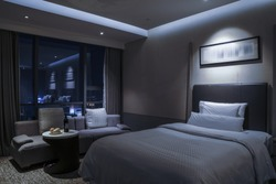 Elegant and comfortable home & hotel bedroom interior.Night sense.