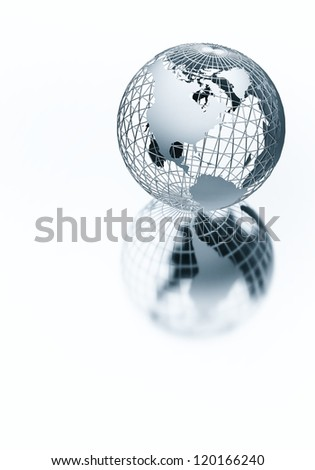 Elegant and contemporary  looking metal steel chrome globe. Great image to visualize globalization, worldwide or global  business in contemporary modern style