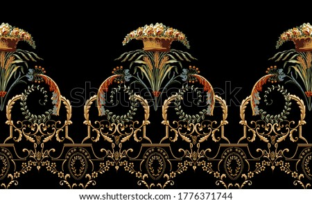 elegant and luxurious decoration in rococo style design vintage elements in baroque.textile shirt designs