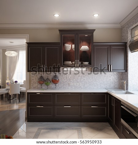 Elegant and luxurious open kitchen chocolate and beige colors with gray and white tiles. 3d render. #563950933