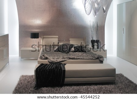 Elegant And Luxury Bedroom Interior Design. Stock Photo