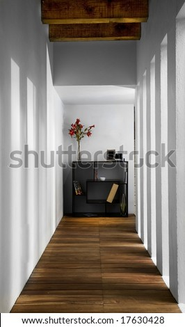 elegant and modern corridor with flowers and a book shelf