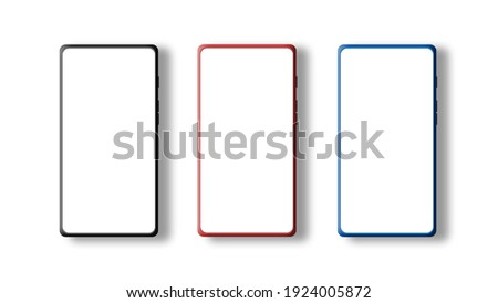Elegant and modern 3D illustration smartphone mockup set with three black, red, and blue colors theme. Cellphone display front view.