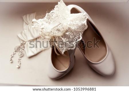 Elegant and stylish bridal shoes. #1053996881