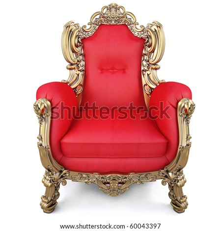 elegant armchair of red fabric and gold-plated body. isolated on white