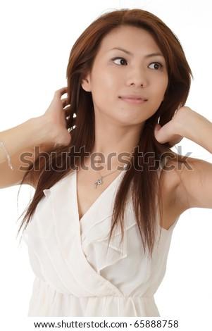 Elegant Asian beauty, closeup portrait over white background.