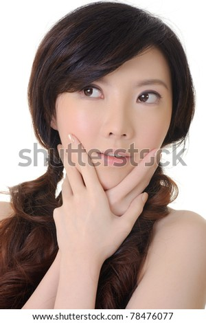 Elegant Asian lady, closeup portrait in studio white background.