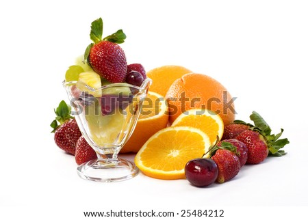 Elegant assorted fruit with glass parfait with cut mixed fruit isolated on white background with copy space