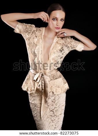 Elegant beautiful woman in lace dress