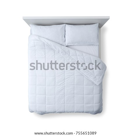 Elegant bed with soft duvet, bedding and pillows on white background, top view #755651089