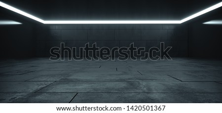 Elegant Big Hall Concrete Glossy Underground Showroom Garage Gallery Hallway Tunnel Corridor Studio White Lights Stripe Empty Dark Grunge 3D Rendering Illustration