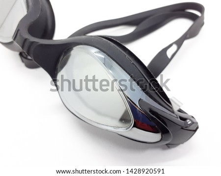 Elegant Black and Silver Professional Sporty Swimming Goggle in White Isolated Background #1428920591