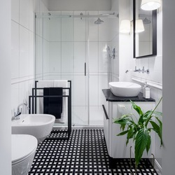 Elegant black and white bathroom, with stylish mosaic floor tiles, big mirror in frame, toilet, bidet and washbasin with drawer and shower behind glass sliding doors