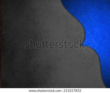 elegant black background paper with shiny blue corner border with wavy curve and vintage texture design element